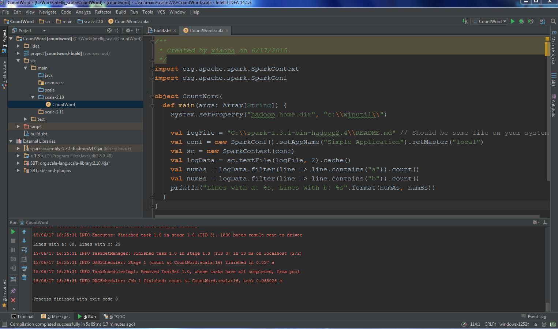 Build Apache Spark Application in IntelliJ IDEA 14 1 | Nan Xiao's Blog